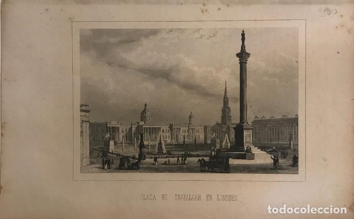 INGLATERRA. PLAZA DE TRAFALGAR EN LONDRES 15,6X24,4 CM (Arte - Grabados - Modernos siglo XIX)