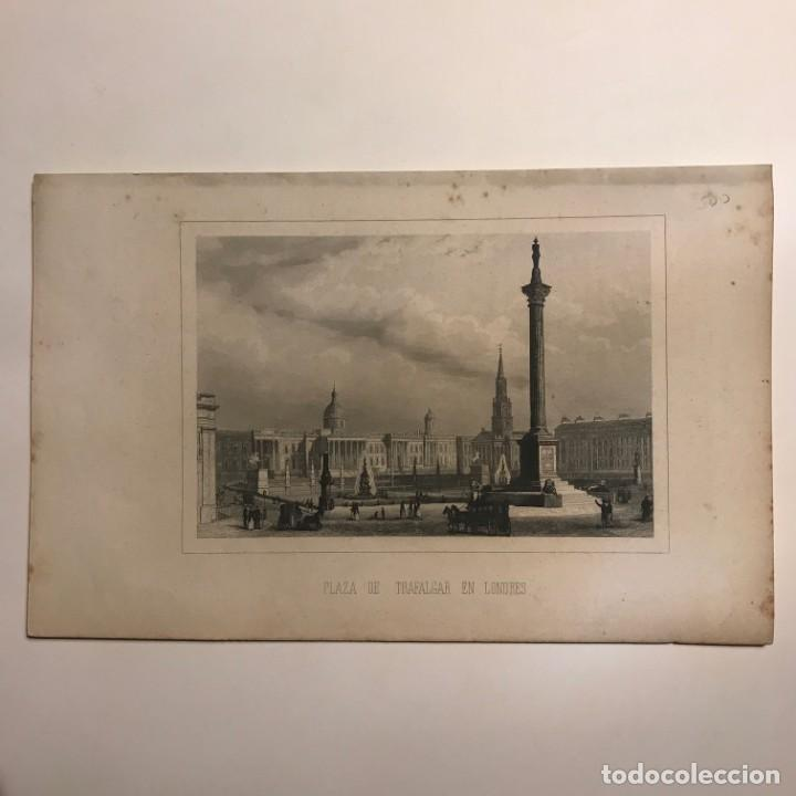 Arte: Inglaterra. Plaza de Trafalgar en Londres 15,6x24,4 cm - Foto 2 - 152294398