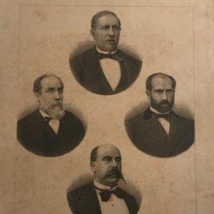 Grabado antiguo de Presidentes de la república Española. Figueras, Pi y Margall, Salmerón y Alonso y Castelar