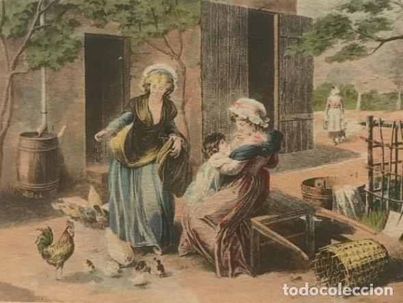 GRABADO MUJERES CON NIÑO EN PAISAJE RURAL 14,5X10,5 CM (Arte - Grabados - Modernos siglo XIX)