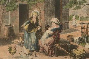 Grabado mujeres con niño en paisaje rural 14,5x10,5 cm
