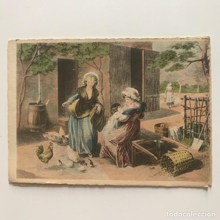 Arte: Grabado mujeres con niño en paisaje rural 14,5x10,5 cm - Foto 2 - 151906974