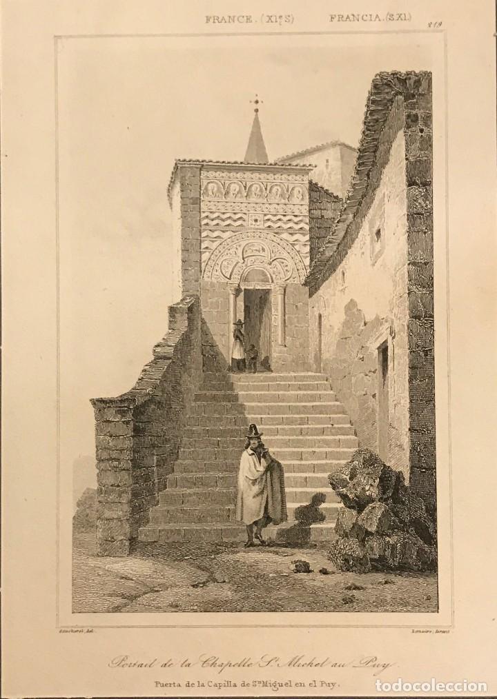 FRANCIA (S.XI). PUERTA DE LA CAPILLA DE SAN MIGUEL EN EL PUY 24X30 CM (Arte - Grabados - Modernos siglo XIX)