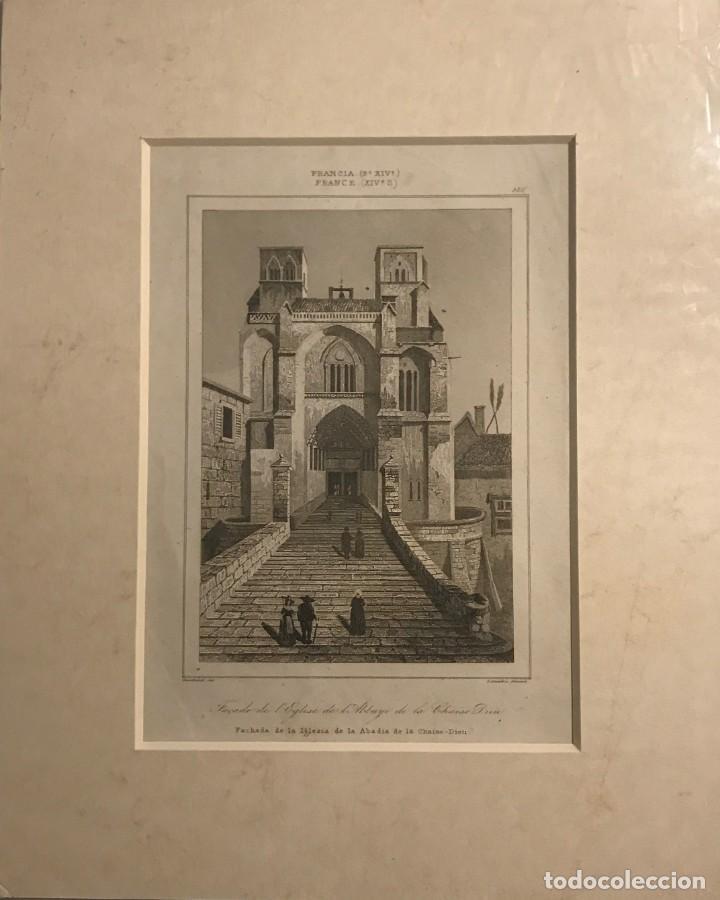 FRANCIA (S.XIV). FACHADA DE LA IGLESIA DE LA ABADÍA DE LA CHAISE-DIEU 22X27 CM (Arte - Grabados - Modernos siglo XIX)