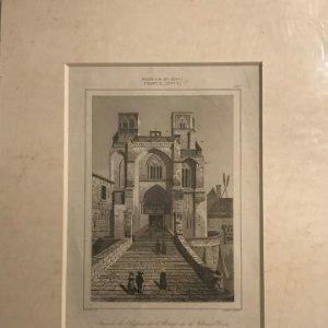 Francia (s.XIV). Fachada de la Iglesia de la Abadía de la Chaise-Dieu 22x27 cm