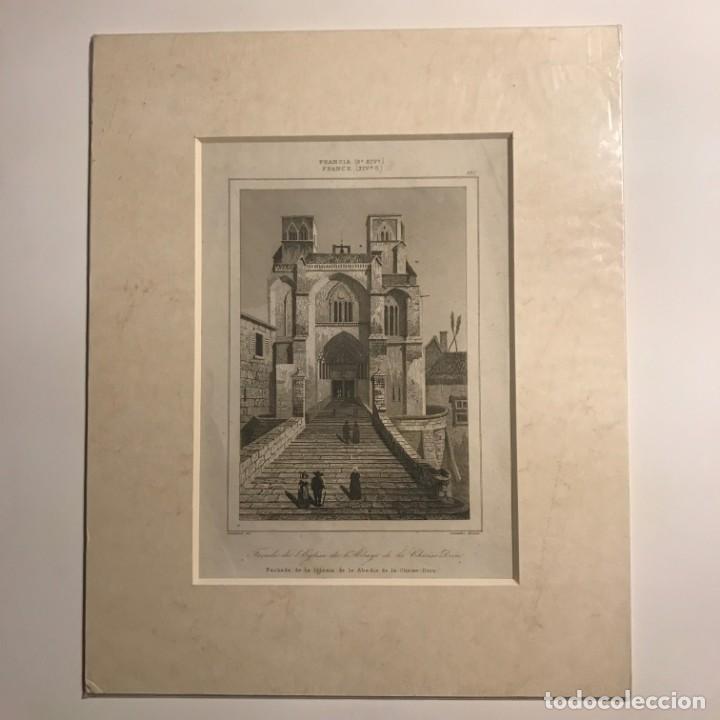 Arte: Francia (s.XIV). Fachada de la Iglesia de la Abadía de la Chaise-Dieu 22x27 cm - Foto 2 - 152310602