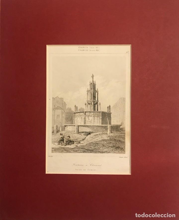 FRANCIA (S.XII). FUENTE EN CLERMONT 24X30 CM (Arte - Grabados - Modernos siglo XIX)