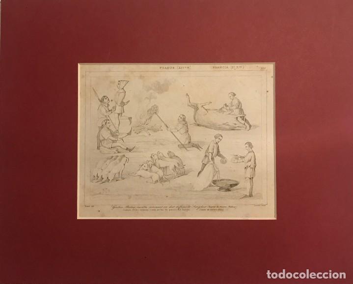 Arte: Gastón Febo enseña como se ha de partir al Jabalí. Grabado antiguo. Francia. Siglo XIX. - Foto 2 - 152311810