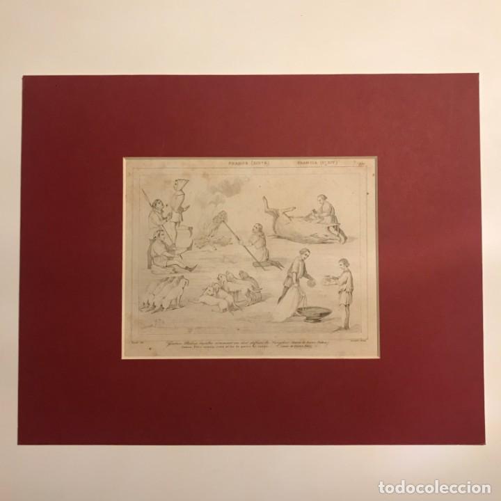 Arte: Gastón Febo enseña como se ha de partir al Jabalí. Grabado antiguo. Francia. Siglo XIX. - Foto 3 - 152311810