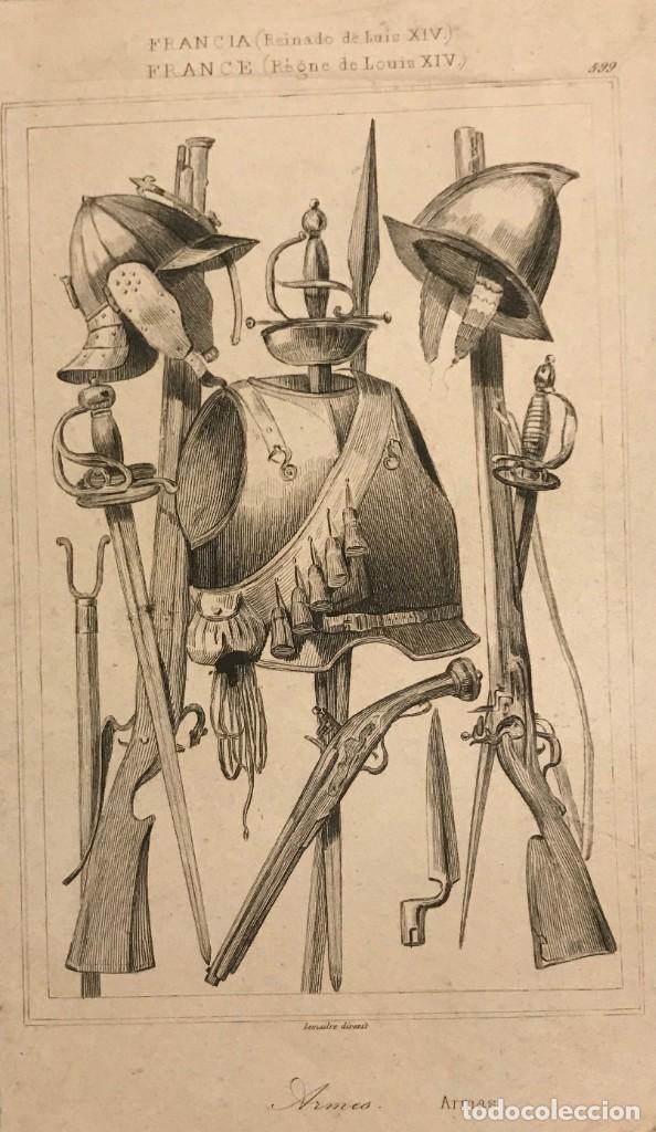 FRANCIA (REINADO DE LUÍS XIV). ARMAS 15,5X22,6 CM (Arte - Grabados - Modernos siglo XIX)