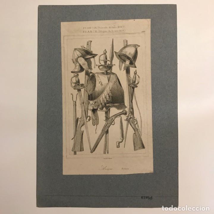 Arte: Francia (Reinado de Luís XIV). Armas 15,5x22,6 cm - Foto 2 - 152312730