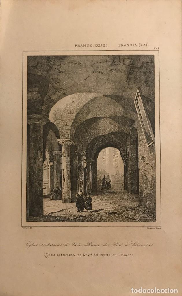 FRANCIA (S.XI). IGLESIA SUBTERRÁNEA DE Nª Sª DEL PUERTO EN CLERMONT 20,6X12,8 CM (Arte - Grabados - Modernos siglo XIX)