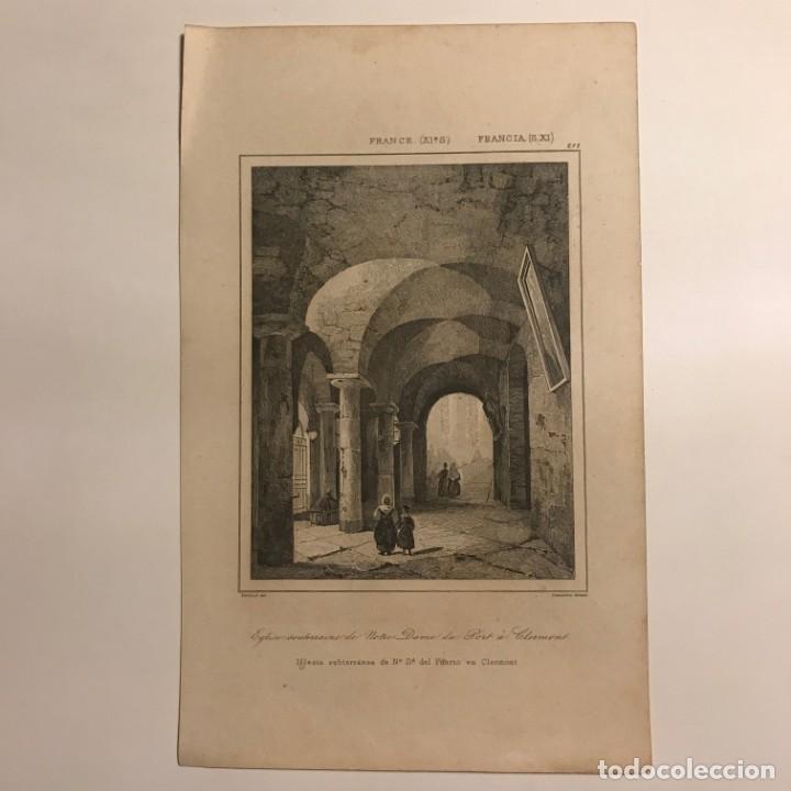 Arte: Francia (s.XI). Iglesia subterránea de Nª Sª del Puerto en Clermont 20,6x12,8 cm - Foto 2 - 152313150