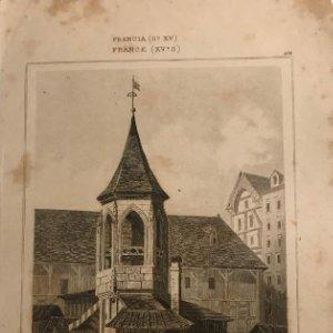 Francia (s.XV). La Picota del Mercado en París, Arrasado en 1789. 12,4x19,7 cm
