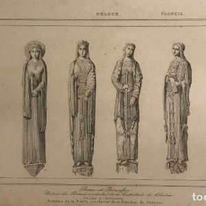 Francia. Reinas y Princesas. Estatuas de la Puerta occidental de Catedral de Chartres 20,7x12,6 cm