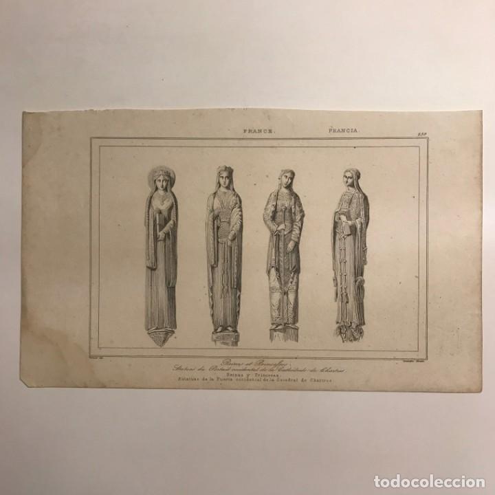 Arte: Francia. Reinas y Princesas. Estatuas de la Puerta occidental de Catedral de Chartres 20,7x12,6 cm - Foto 2 - 152317350