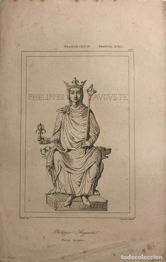 FRANCIA. (S.XII) FELIPE AUGUSTO 13,8X21,5 CM (Arte - Grabados - Modernos siglo XIX)