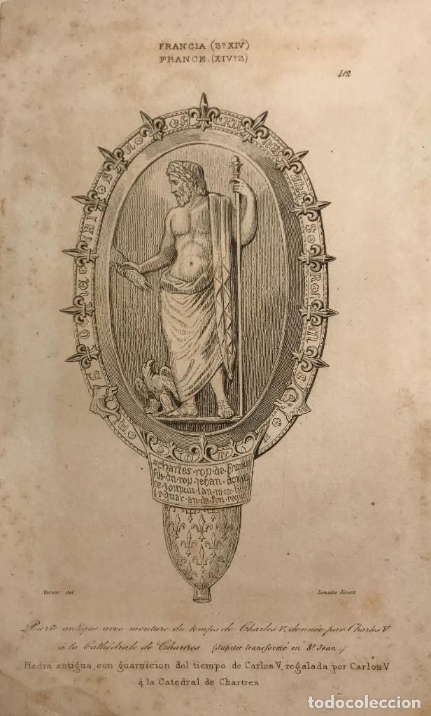 FRANCIA. (S.XIV) PIEDRA ANTIGUA CON GUARNICIÓN DEL TIEMPO DE CARLOS V 12,2X19,7 CM (Arte - Grabados - Modernos siglo XIX)