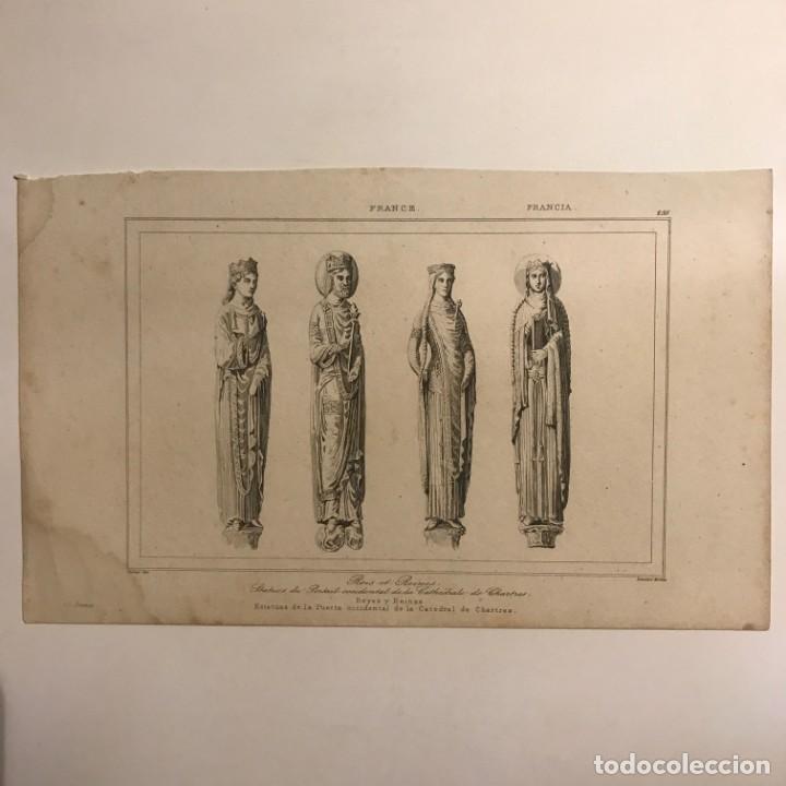 Arte: Francia. Estatuas de la Puerta occidental de la Catedral de Chartres 20,7x12,7 cm - Foto 2 - 152318610