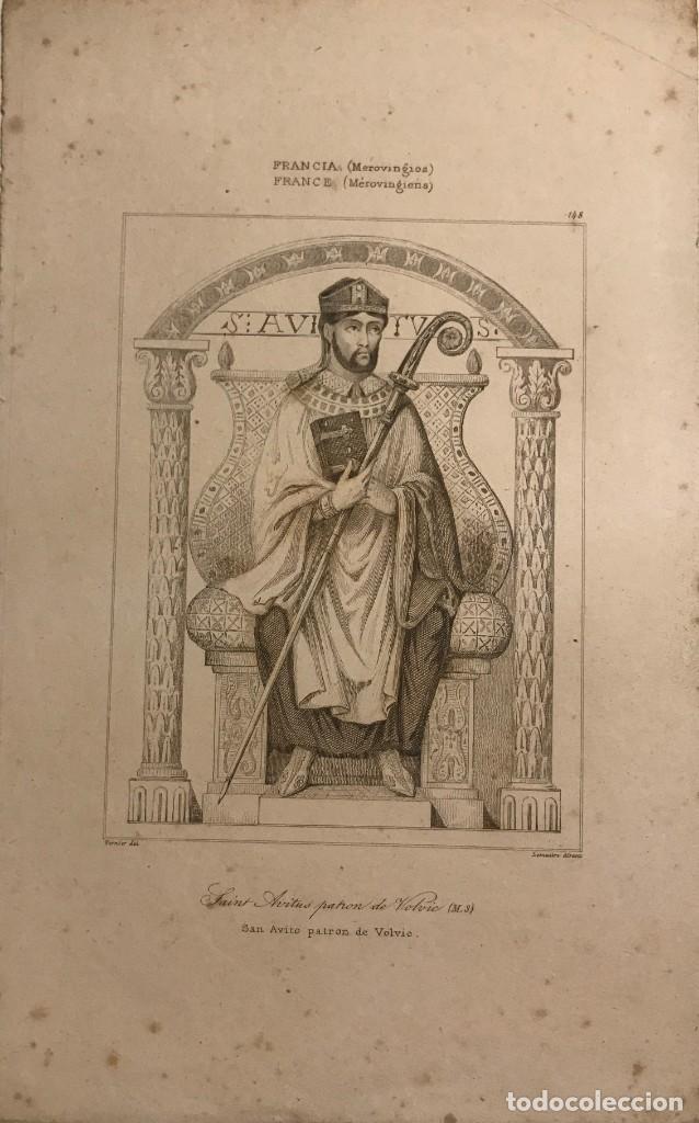 FRANCIA (MEROVINGIOS). SAN AVITO PATRON DE VELVIC 13,7X22,2 CM (Arte - Grabados - Modernos siglo XIX)