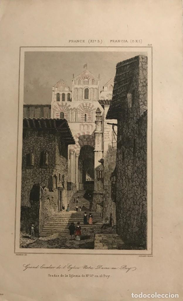 FRANCIA (S.XI). GRADAS DE LA IGLESIA DE Nª Sª EN EL PUY 12,9X20,6 CM (Arte - Grabados - Modernos siglo XIX)