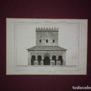 La Alhambra. Granada. Grabado Pórtico del Generalife. Lemaitre Direxit. Grabado s.XIX