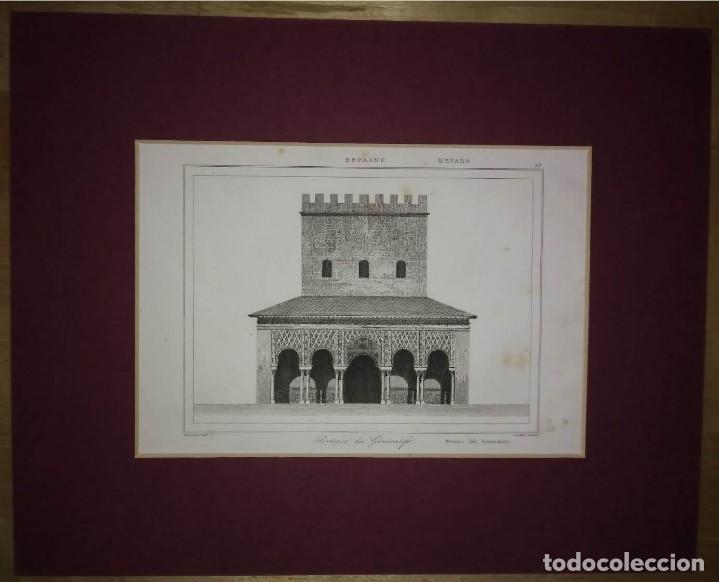 Arte: La Alhambra. Granada. Grabado Pórtico del Generalife. Lemaitre Direxit. Grabado s.XIX - Foto 2 - 114523579