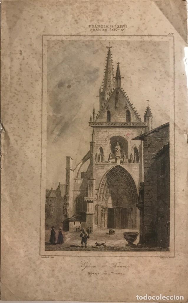 FRANCIA (S.XIV). IGLESIA EN THANN 13,5X22 CM (Arte - Grabados - Modernos siglo XIX)