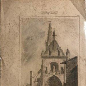 Francia (s.XIV). Iglesia en Thann 13,5x22 cm