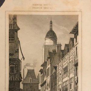 Francia (s.XVI). Torre del reloj y casas del siglo XVI en Ruan 18x25 cm