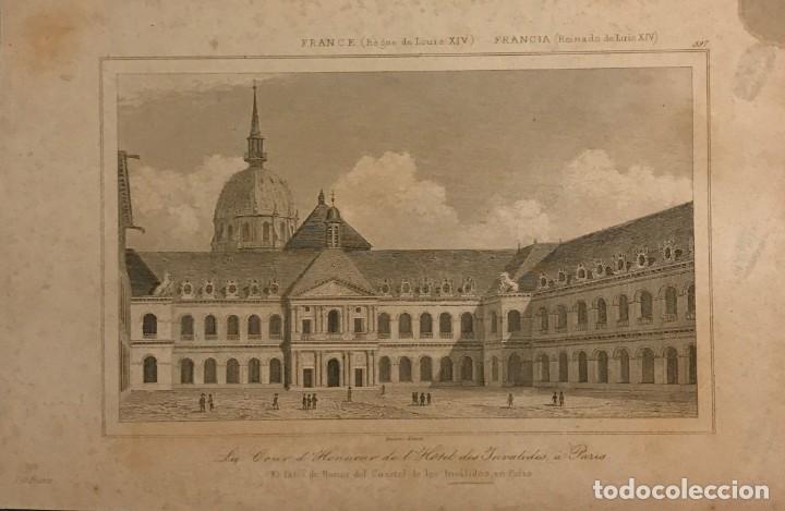 FRANCIA (REINADO DE LUÍS XIV). EL PATIO DE HONOR DEL CUARTEL DE LOS INVÁLIDOS, EN PARÍS 18X25 CM (Arte - Grabados - Modernos siglo XIX)