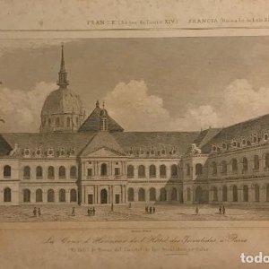 Francia (Reinado de Luís XIV). El patio de Honor del Cuartel de los Inválidos, en París 18x25 cm