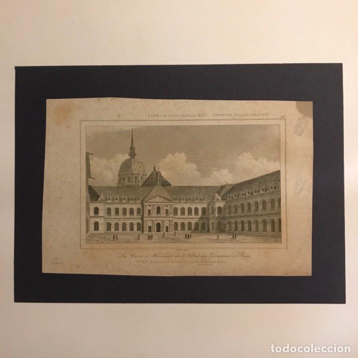 Arte: Francia (Reinado de Luís XIV). El patio de Honor del Cuartel de los Inválidos, en París 18x25 cm - Foto 2 - 152321466