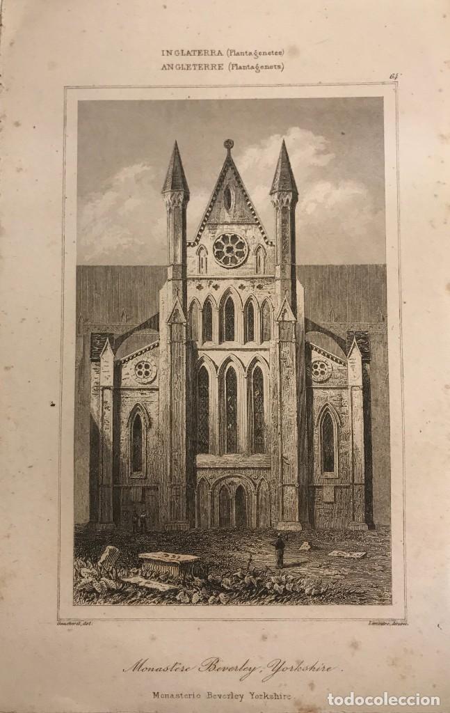 INGLATERRA (PLANTAGENETES). MONASTEIO BEVERLEY YORKSHIRE 12,8X20 CM (Arte - Grabados - Modernos siglo XIX)