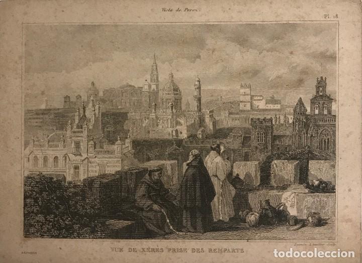 ESPAÑA. VUE DE XERES PRISE DES REMPARTS 12,5X17,1 CM (Arte - Grabados - Modernos siglo XIX)