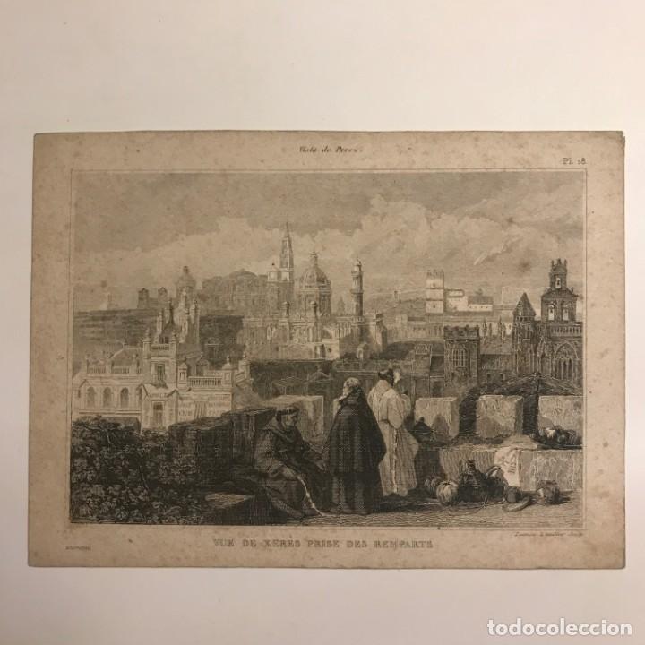 Arte: España. Vue de Xeres prise des Remparts 12,5x17,1 cm - Foto 2 - 152335430