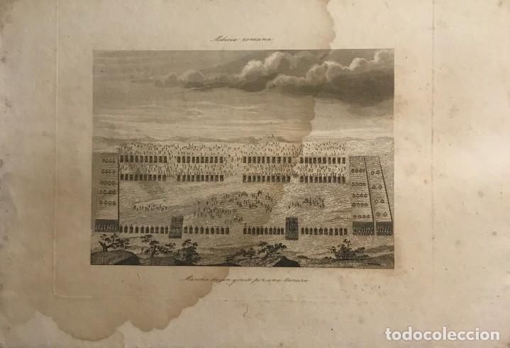 ESPAÑA. MILICIA ROMANA. MARCHA DE UN EJÉRCITO POR UNA LLANURA 24,5X17,2 CM (Arte - Grabados - Modernos siglo XIX)