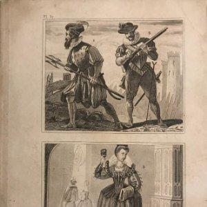 España. 1. Guardia suiza del rey 2. Un mosquetero 3.Trage de una muger jóven 14,2x21,9 cm