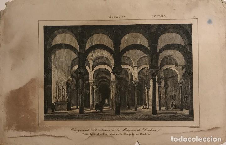 ESPAÑA. VISITA GENERAL DEL INTERIOR DE LA MESQUITA DE CÓRDOBA 13,8X21 CM (Arte - Grabados - Modernos siglo XIX)