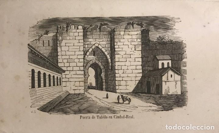 ESPAÑA. PUERTA DE TOLEDO EN CIUDAD REAL 15,3X9,5 CM (Arte - Grabados - Modernos siglo XIX)