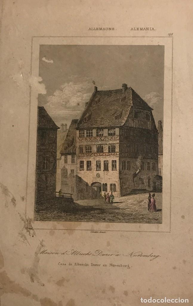ALEMANIA. CASA DE ALBRECHT DURER EN NUREMBERG 12X20,5 CM (Arte - Grabados - Modernos siglo XIX)