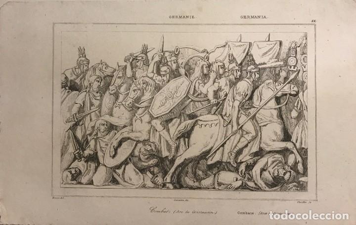 ALEMANIA. LEONES ECHADOS EN EL DANUBIO 13,5X20,7 CM (Arte - Grabados - Modernos siglo XIX)