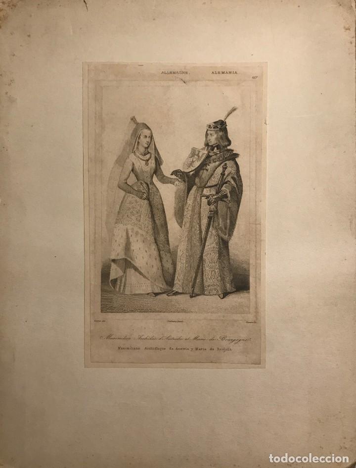 ALEMANIA. MAXIMILIANO ARCHIDUQUE DE AUSTRIA Y MARÍA DE BORGOÑA 22X29 CM (Arte - Grabados - Modernos siglo XIX)
