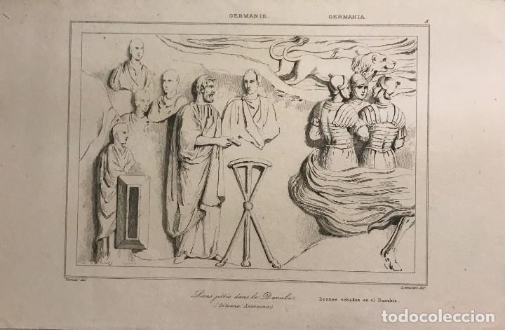ALEMANIA. LEONES ECHADOS AL DANUBIO 20,8X13,5 CM (Arte - Grabados - Modernos siglo XIX)