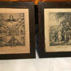 Arte: ANTIGUOS CUADRO CON LÁMINA / GRAVADO RELIGIOSO DE LA SAGRADA FAMILIA SIGLO XIX. Lote 152371874
