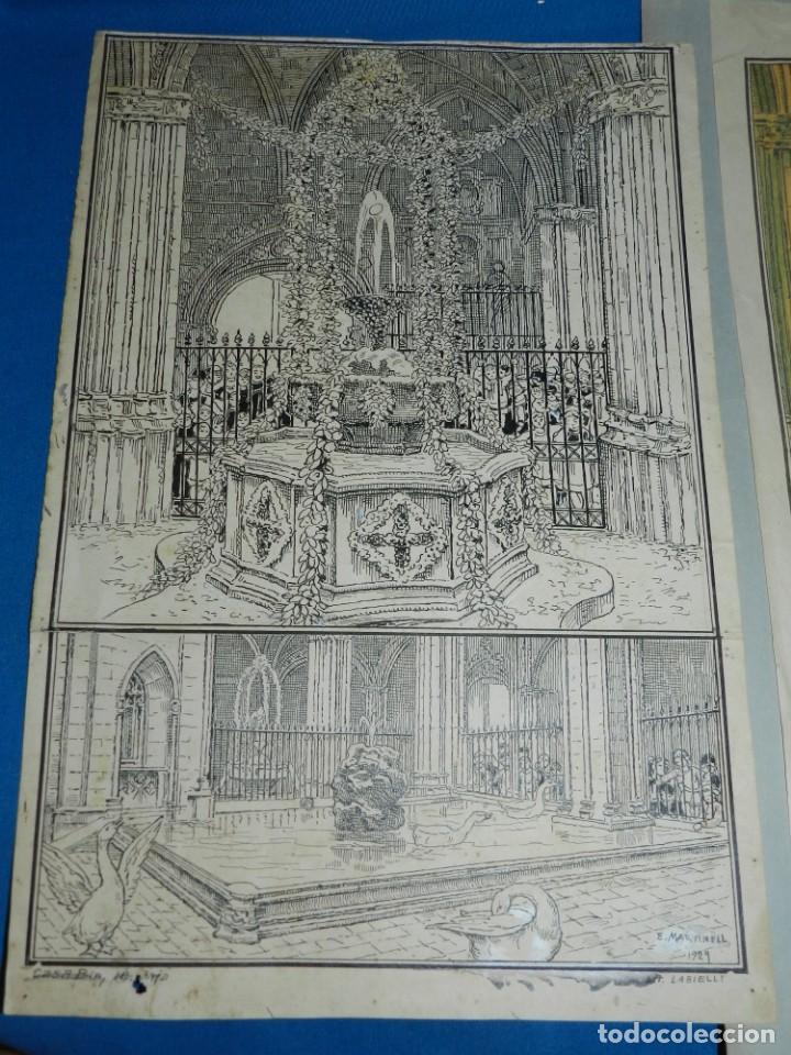 Arte: (M) DIBUJO ORIGINAL DE E MARTINELL 1929 LOU COM BALLA SURTIDOR ST JORDI SEU DE BARCELONA - Foto 2 - 152417530