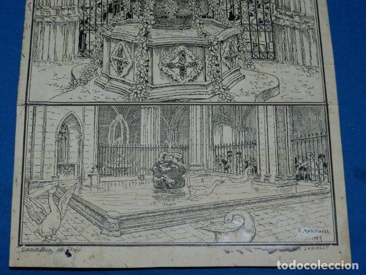 Arte: (M) DIBUJO ORIGINAL DE E MARTINELL 1929 LOU COM BALLA SURTIDOR ST JORDI SEU DE BARCELONA - Foto 5 - 152417530