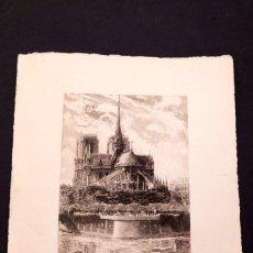 Arte: LEON SALLES - AGUAFUERTE - NOTRE DAME DE PARIS. Lote 152439190