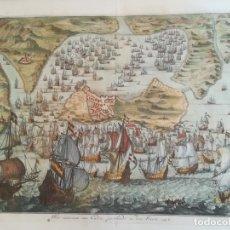 Arte: GRABADO MAPA BATALLA DE CADIZ 1596. Lote 152454212