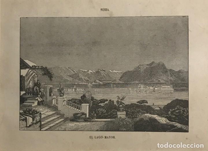 SUIZA. EL LAGO MAYOR 22X27CM (Arte - Grabados - Modernos siglo XIX)